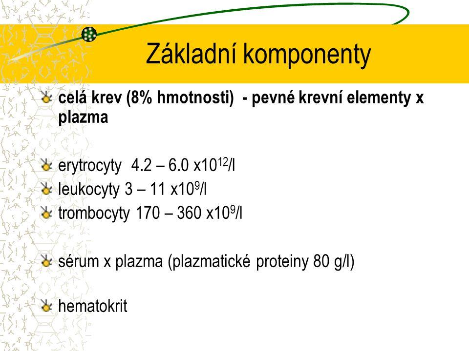 Základní komponenty celá krev (8% hmotnosti) - pevné krevní elementy x plazma. erytrocyty 4.2 – 6.0 x1012/l.