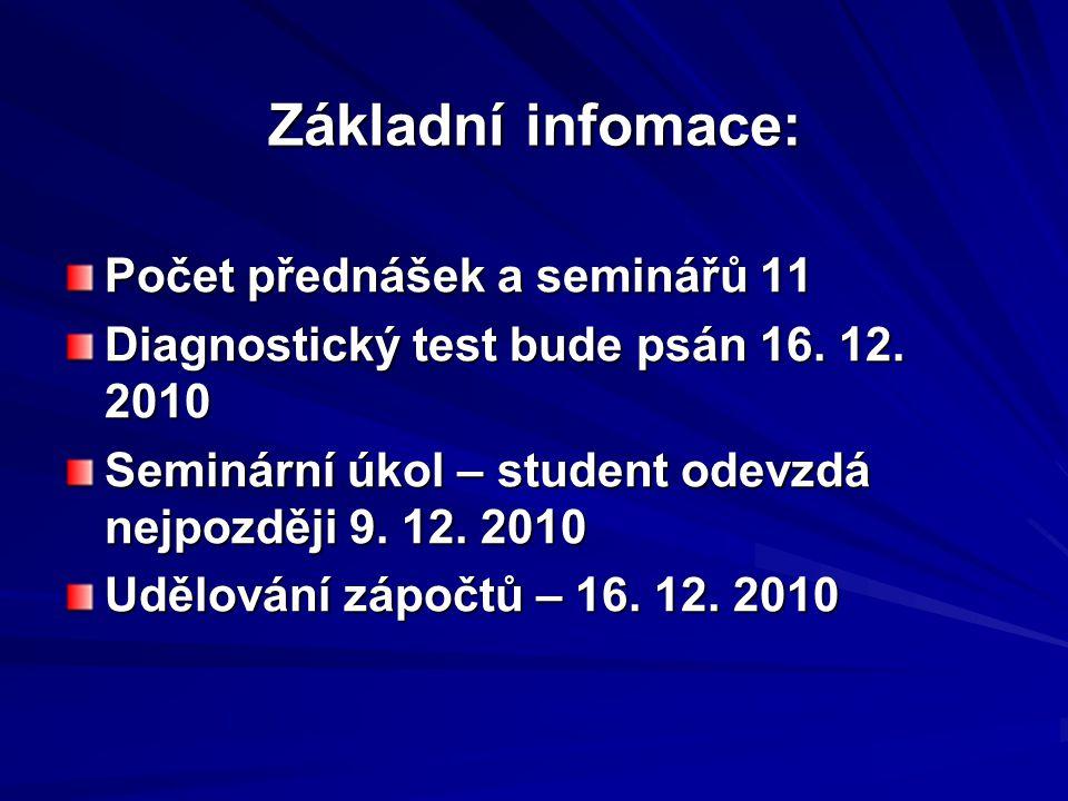 Základní infomace: Počet přednášek a seminářů 11