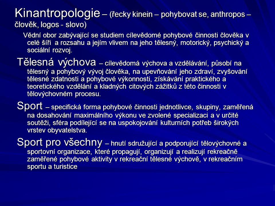Kinantropologie – (řecky kinein – pohybovat se, anthropos – člověk, logos - slovo)