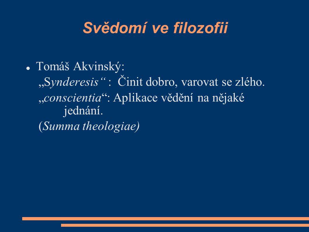 Svědomí ve filozofii Tomáš Akvinský: