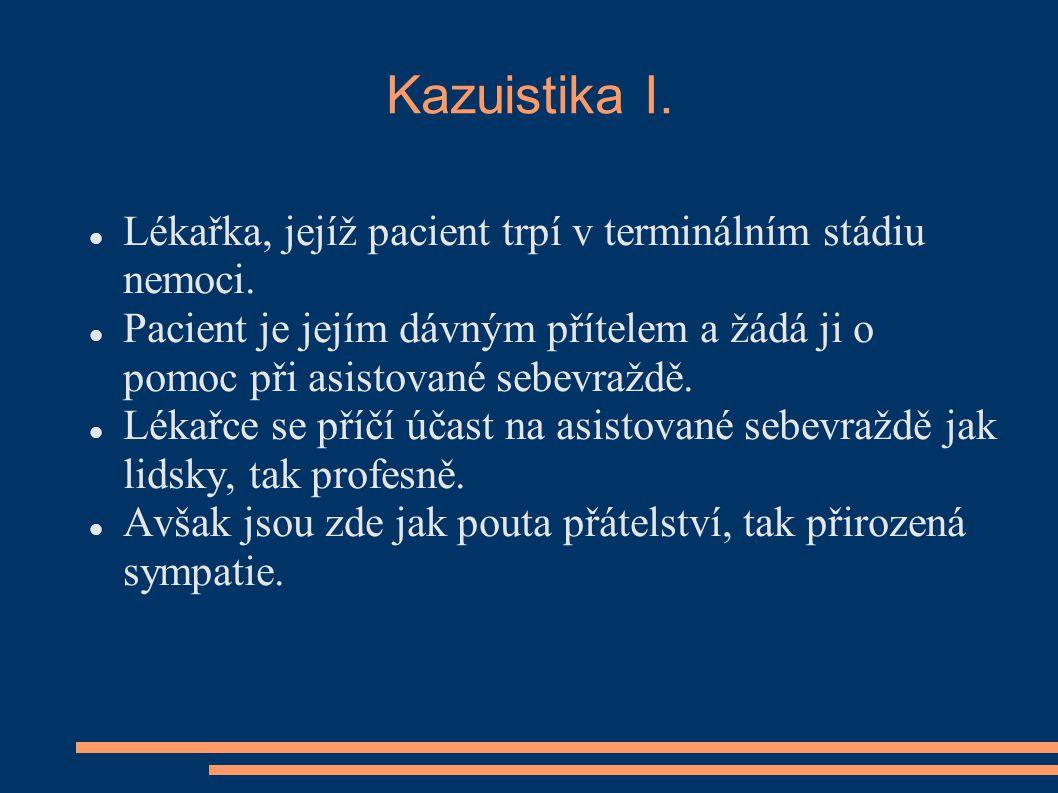 Kazuistika I. Lékařka, jejíž pacient trpí v terminálním stádiu nemoci.