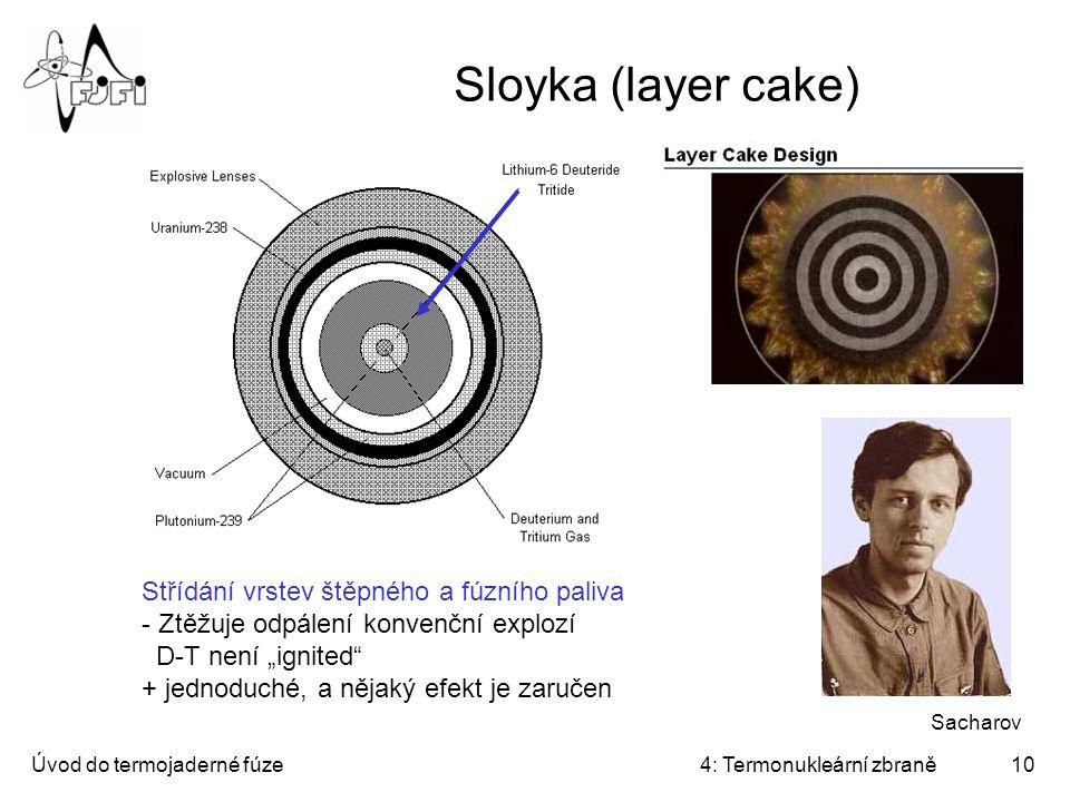 Sloyka (layer cake) Střídání vrstev štěpného a fúzního paliva