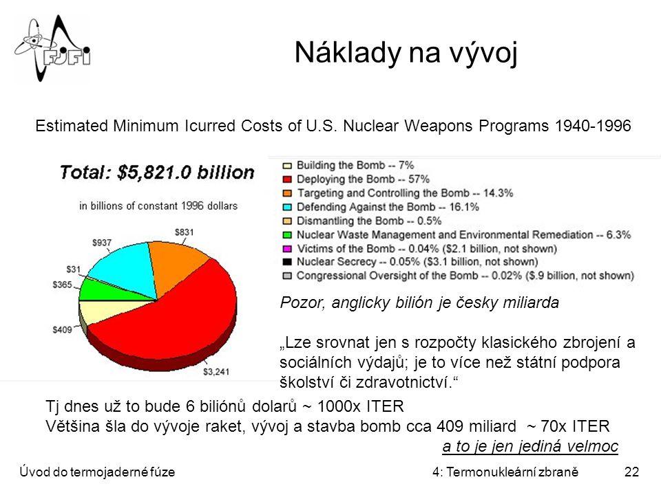 Náklady na vývoj Estimated Minimum Icurred Costs of U.S. Nuclear Weapons Programs 1940-1996. Pozor, anglicky bilión je česky miliarda.