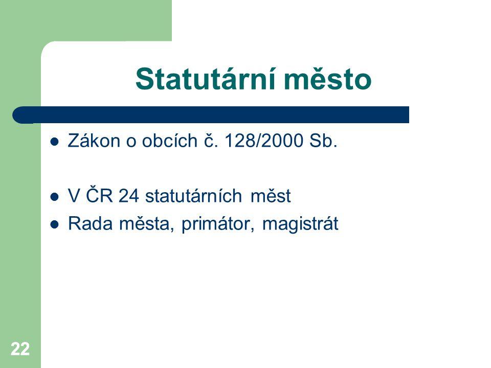 Statutární město Zákon o obcích č. 128/2000 Sb.
