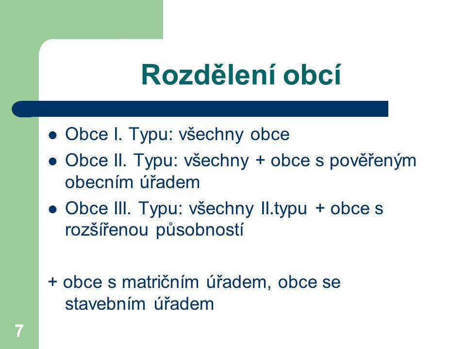 Rozdělení obcí Obce I. Typu: všechny obce