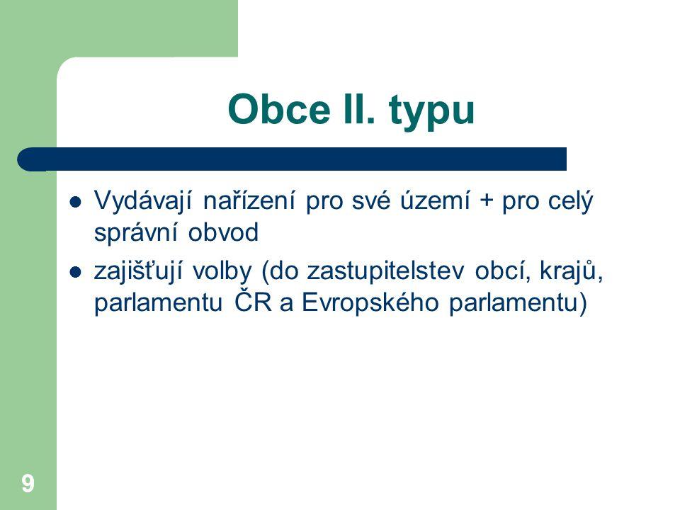 Obce II. typu Vydávají nařízení pro své území + pro celý správní obvod