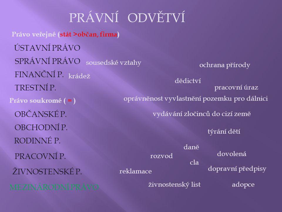 PRÁVNÍ ODVĚTVÍ ÚSTAVNÍ PRÁVO SPRÁVNÍ PRÁVO FINANČNÍ P. TRESTNÍ P.