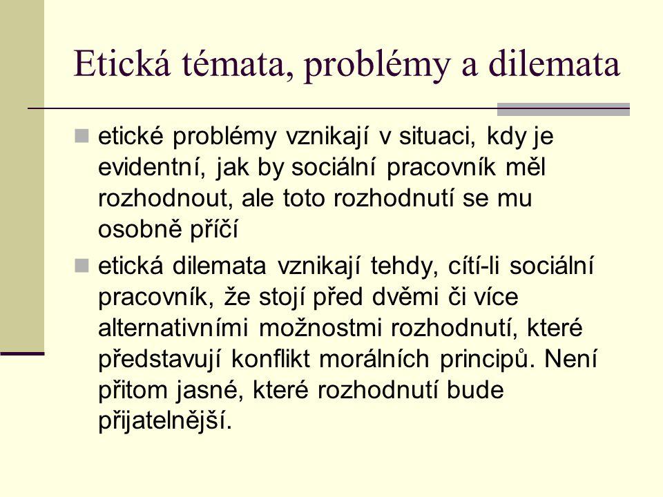 Etická témata, problémy a dilemata