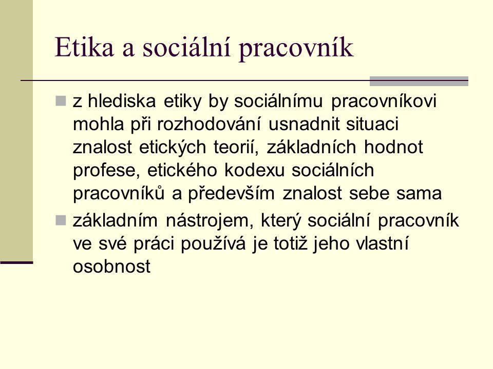 Etika a sociální pracovník