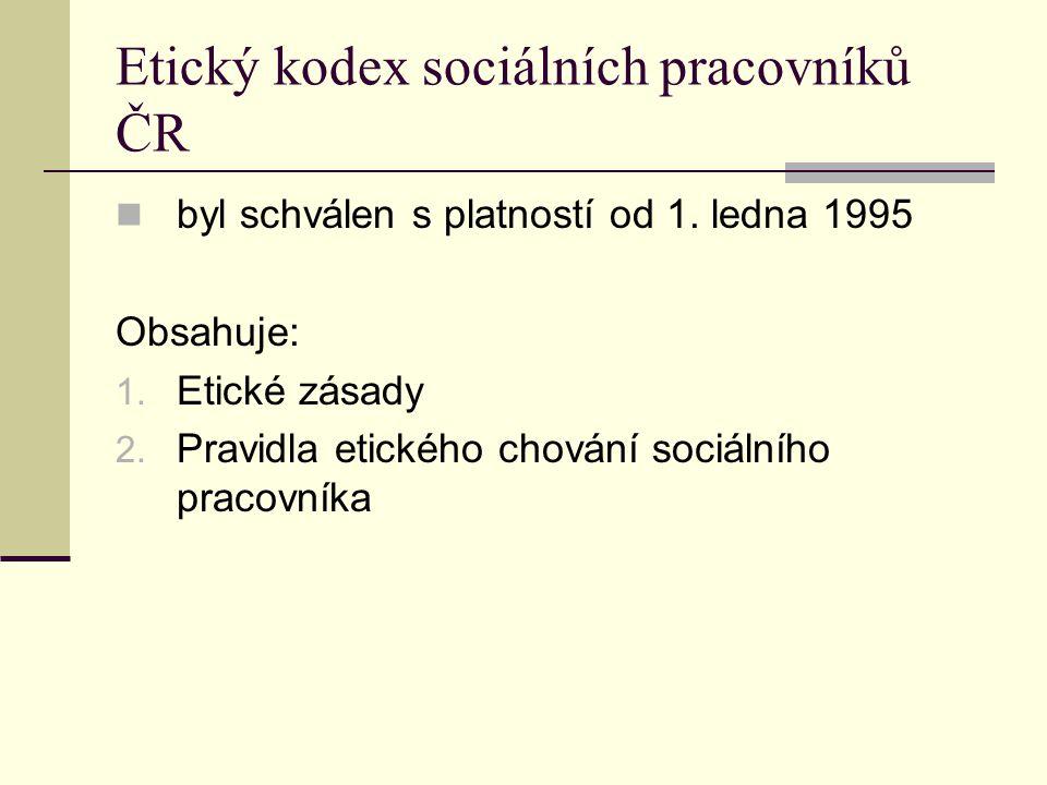 Etický kodex sociálních pracovníků ČR