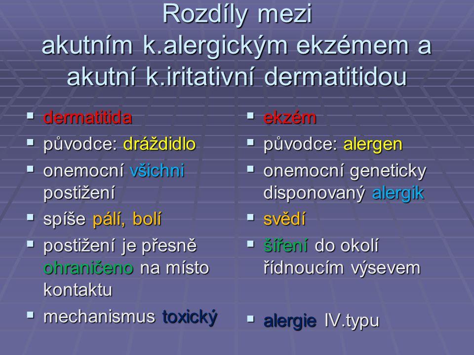 Rozdíly mezi akutním k. alergickým ekzémem a akutní k