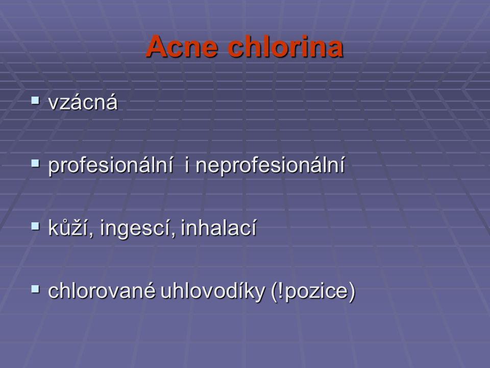 Acne chlorina vzácná profesionální i neprofesionální