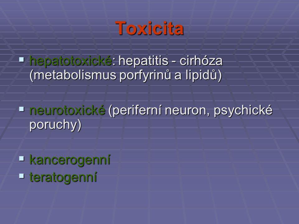 Toxicita hepatotoxické: hepatitis - cirhóza (metabolismus porfyrinů a lipidů) neurotoxické (periferní neuron, psychické poruchy)