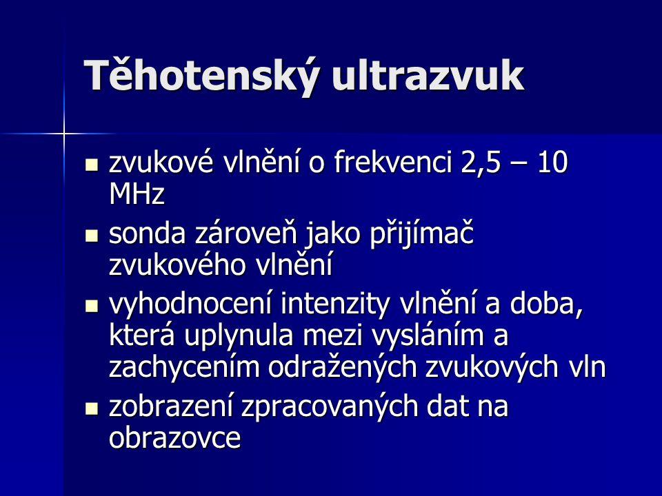 Těhotenský ultrazvuk zvukové vlnění o frekvenci 2,5 – 10 MHz