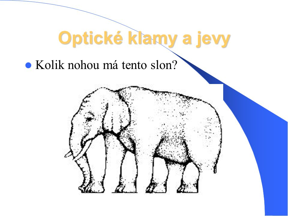 Optické klamy a jevy Kolik nohou má tento slon