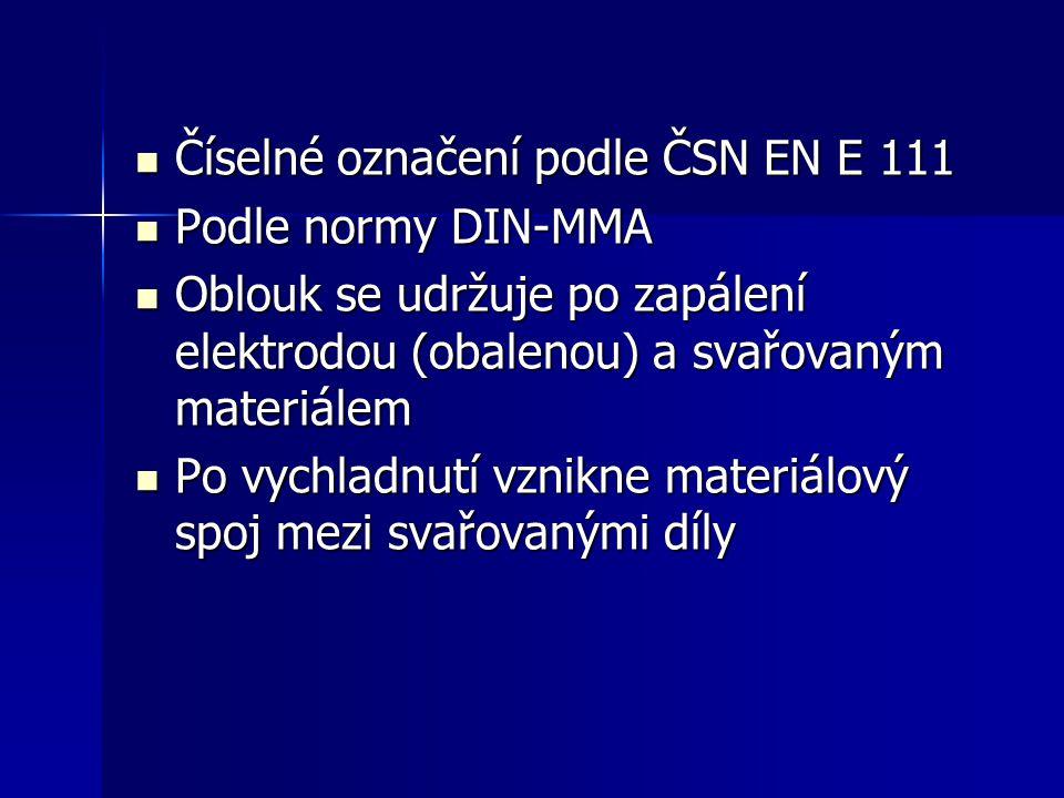 Číselné označení podle ČSN EN E 111