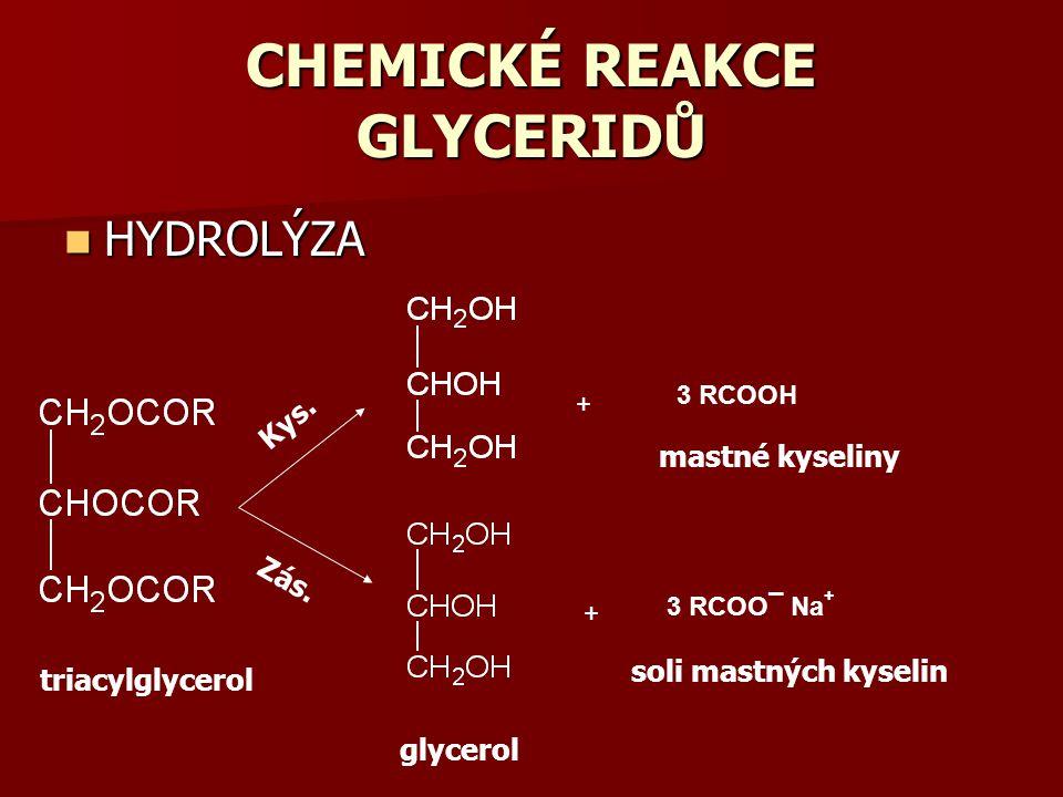 CHEMICKÉ REAKCE GLYCERIDŮ