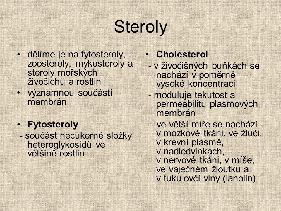 Steroly dělíme je na fytosteroly, zoosteroly, mykosteroly a steroly mořských živočichů a rostlin. významnou součástí membrán.