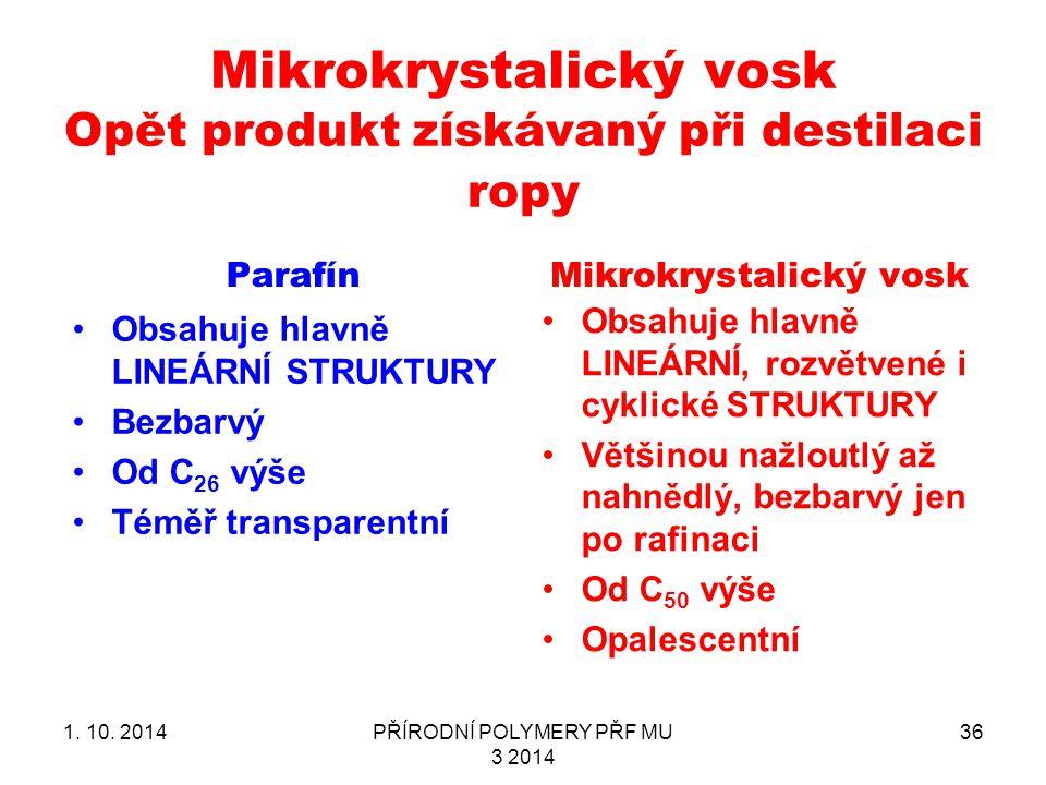 Mikrokrystalický vosk Opět produkt získávaný při destilaci ropy