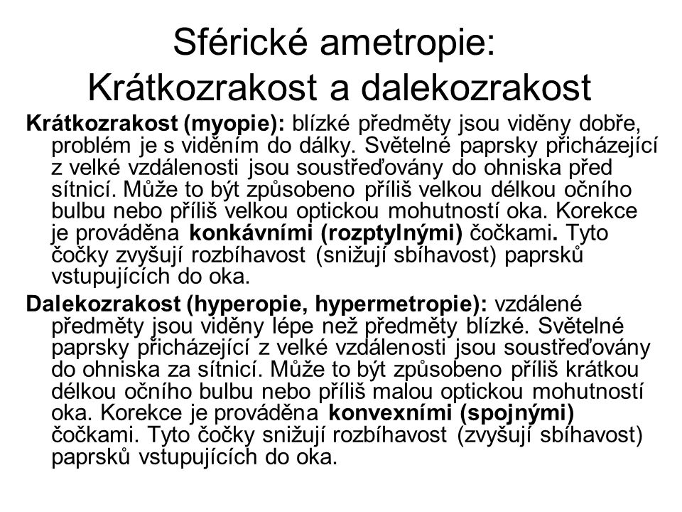 Sférické ametropie: Krátkozrakost a dalekozrakost