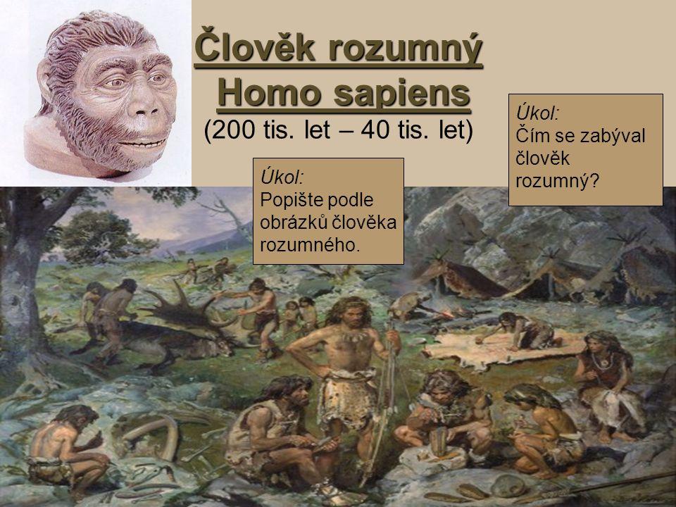 Člověk rozumný Homo sapiens (200 tis. let – 40 tis. let)