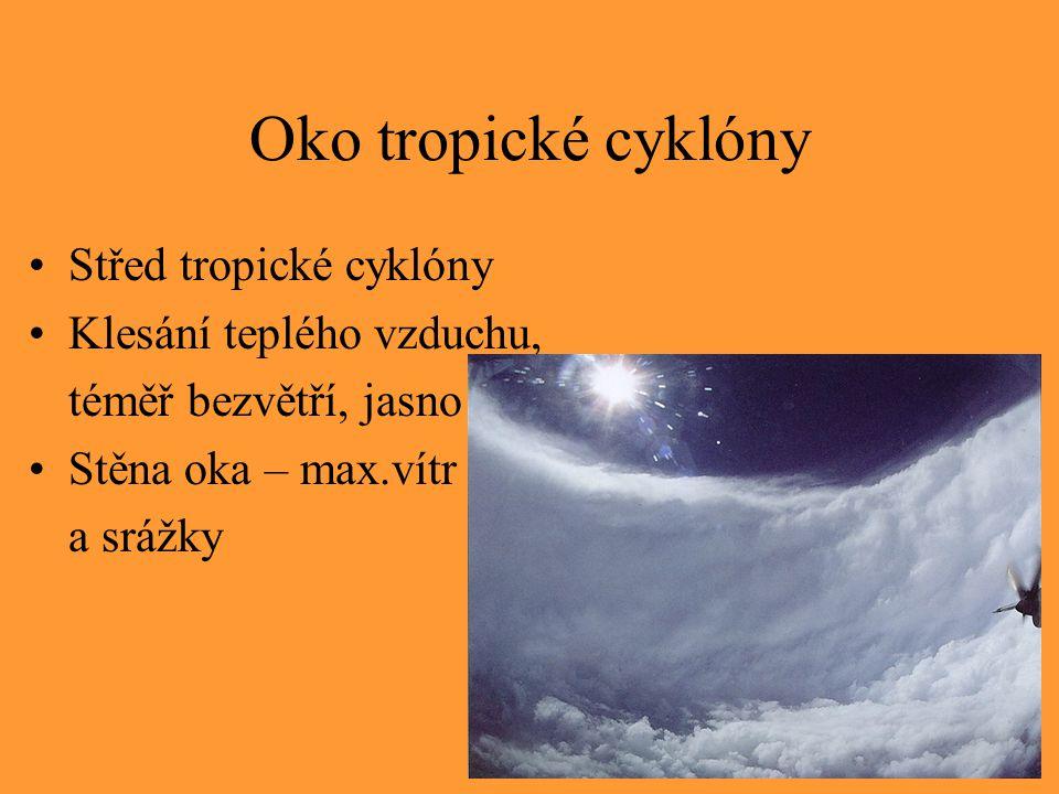 Oko tropické cyklóny Střed tropické cyklóny Klesání teplého vzduchu,