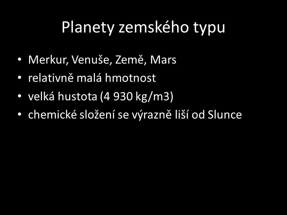 Planety zemského typu Merkur, Venuše, Země, Mars