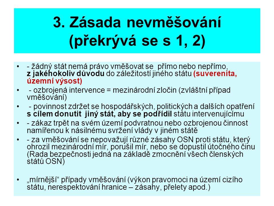 3. Zásada nevměšování (překrývá se s 1, 2)