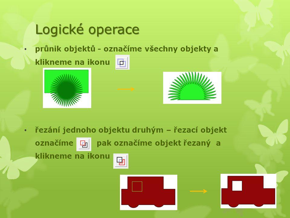 Logické operace průnik objektů - označíme všechny objekty a klikneme na ikonu.