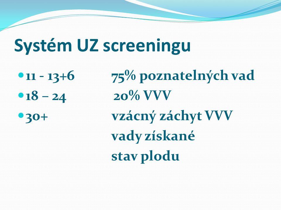 Systém UZ screeningu 11 - 13+6 75% poznatelných vad 18 – 24 20% VVV