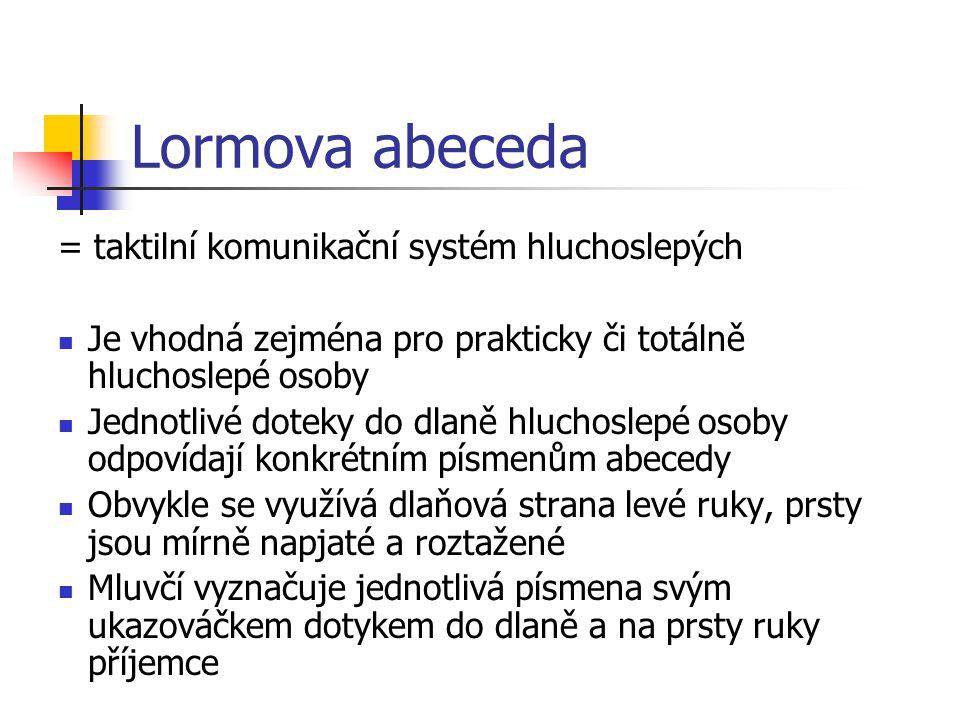 Lormova abeceda = taktilní komunikační systém hluchoslepých