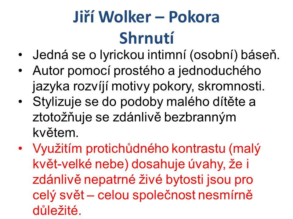 Jiří Wolker – Pokora Shrnutí