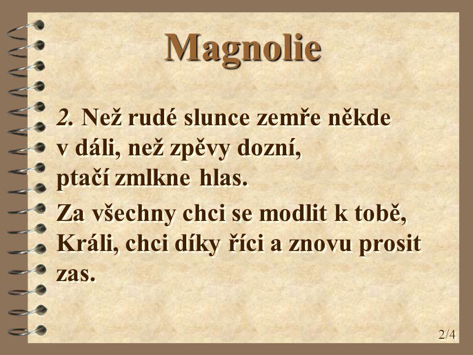 Magnolie 2. Než rudé slunce zemře někde v dáli, než zpěvy dozní, ptačí zmlkne hlas.