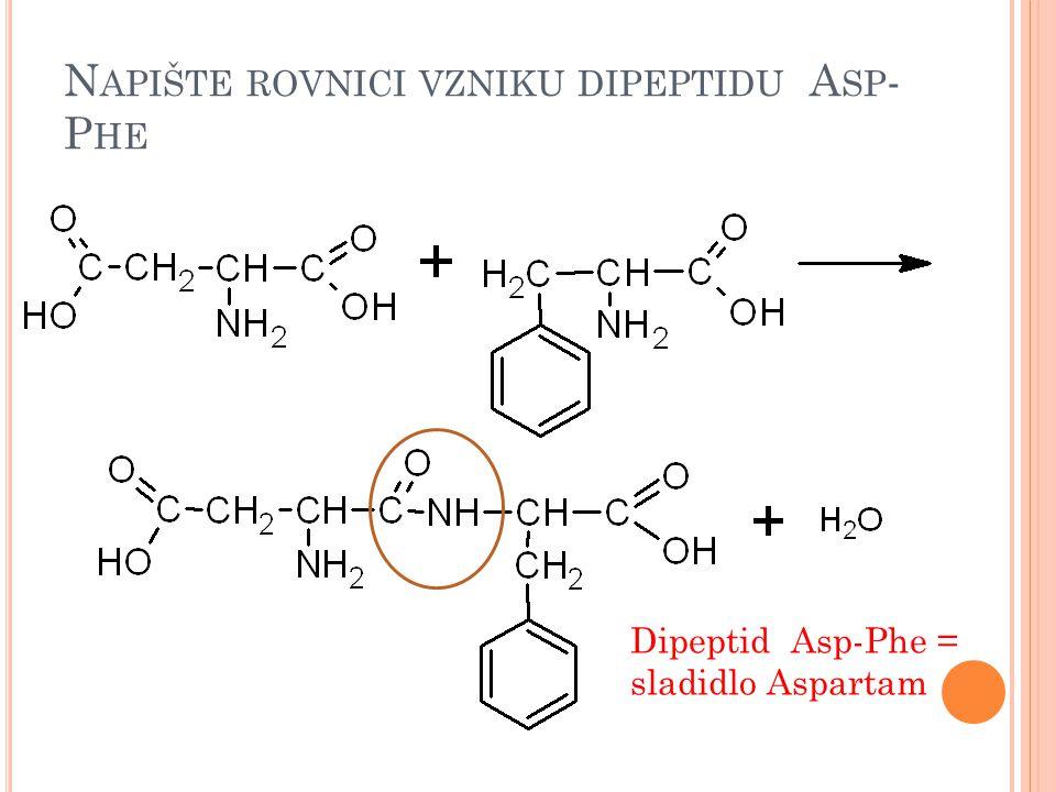 Napište rovnici vzniku dipeptidu Asp-Phe
