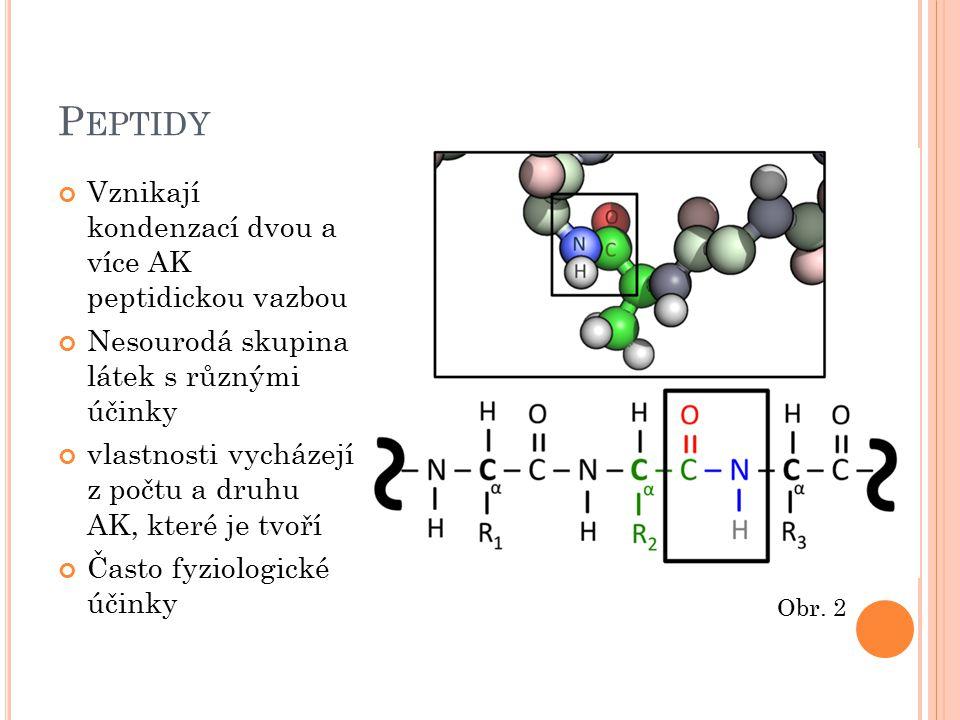 Peptidy Vznikají kondenzací dvou a více AK peptidickou vazbou