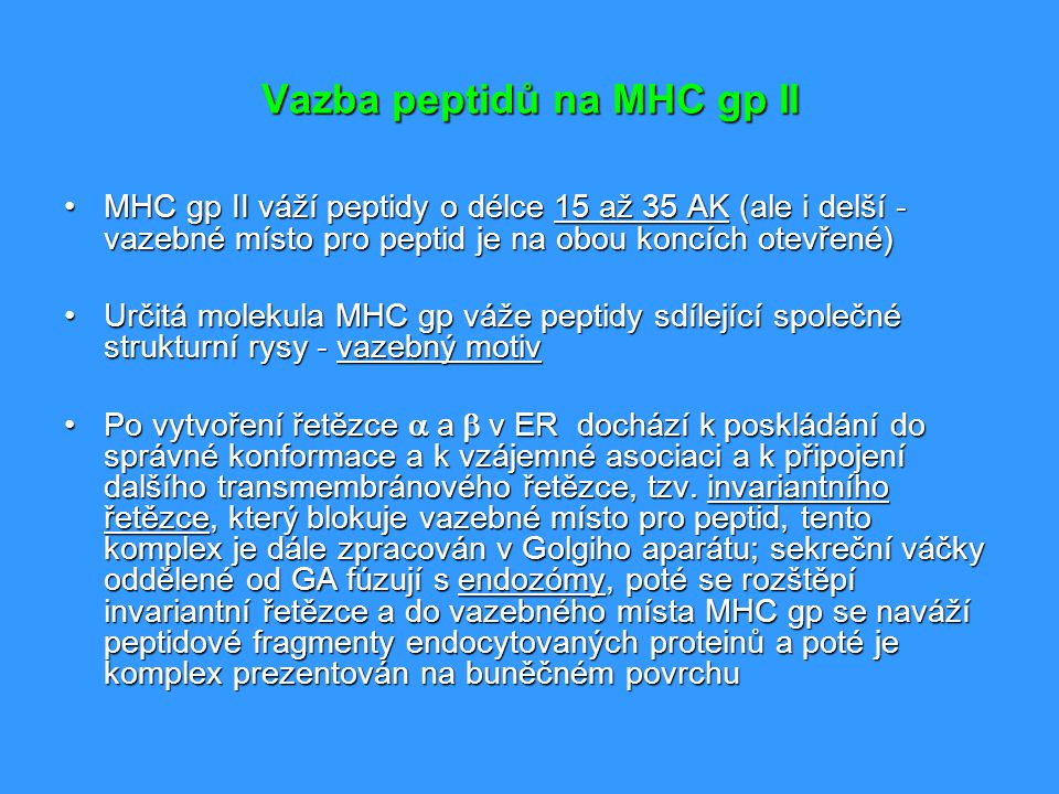 Vazba peptidů na MHC gp II