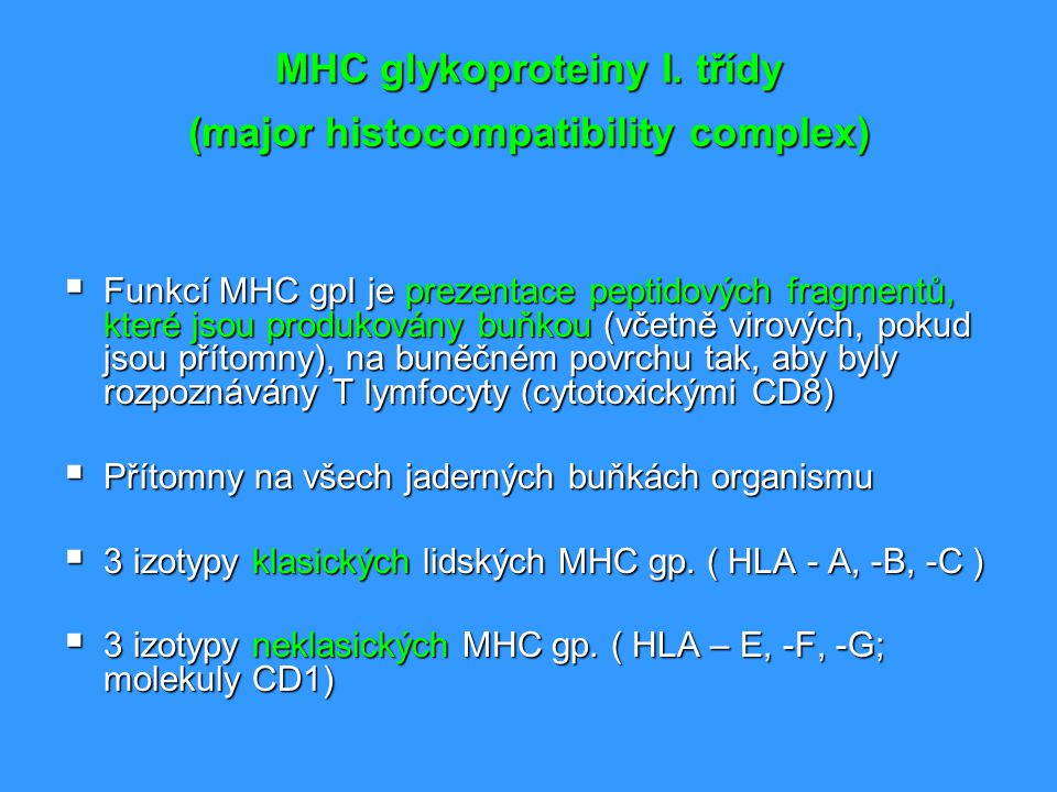 MHC glykoproteiny I. třídy (major histocompatibility complex)
