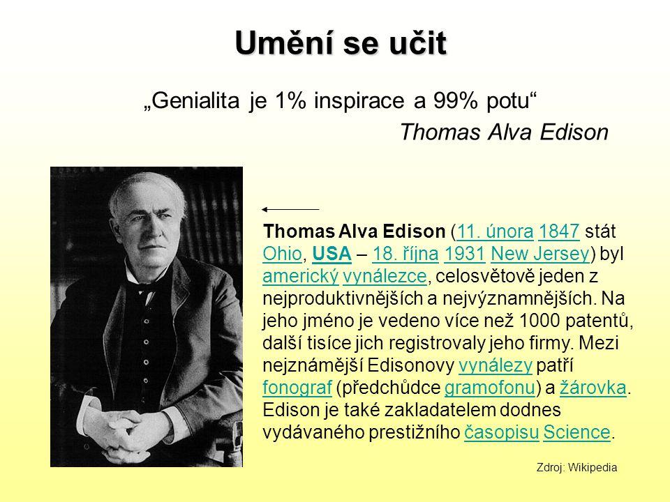 """Genialita je 1% inspirace a 99% potu"