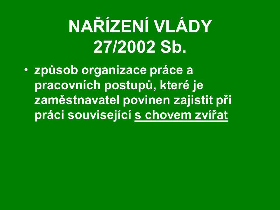 NAŘÍZENÍ VLÁDY 27/2002 Sb.