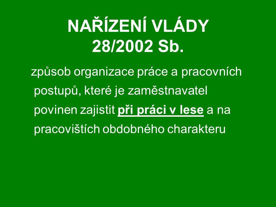 NAŘÍZENÍ VLÁDY 28/2002 Sb.
