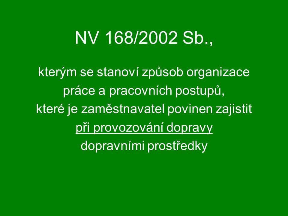 NV 168/2002 Sb., kterým se stanoví způsob organizace