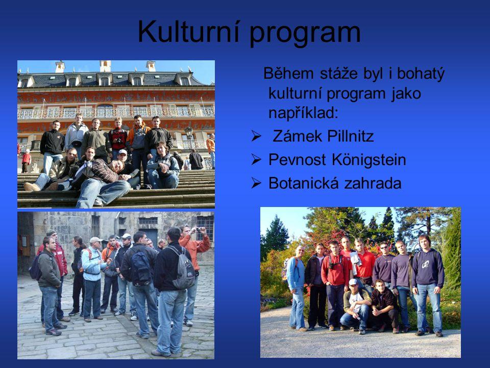 Kulturní program Během stáže byl i bohatý kulturní program jako například: Zámek Pillnitz. Pevnost Königstein.