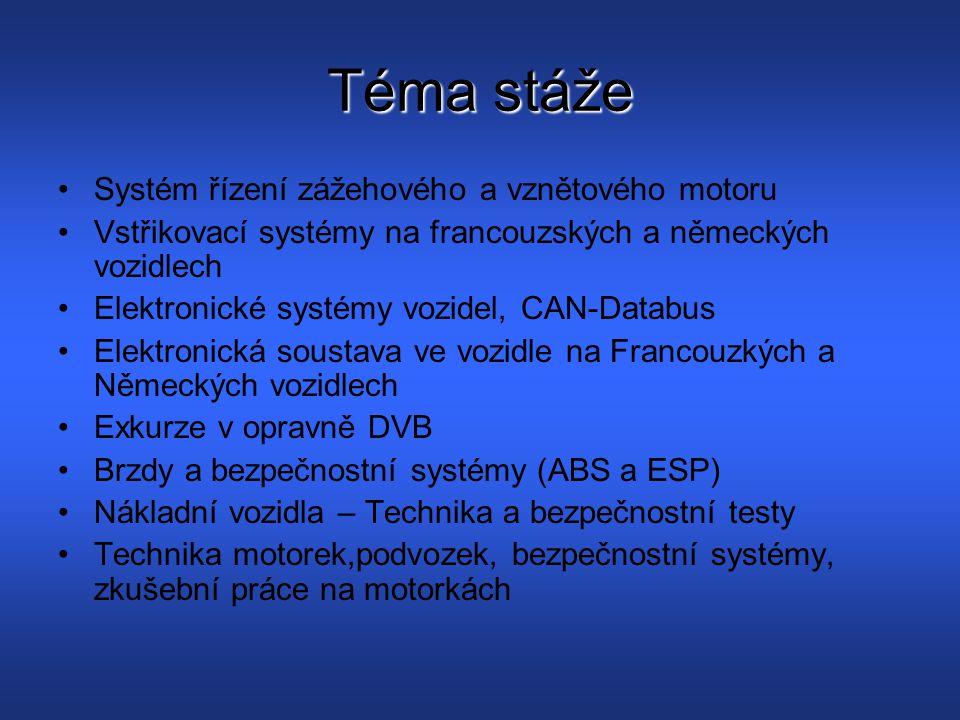 Téma stáže Systém řízení zážehového a vznětového motoru