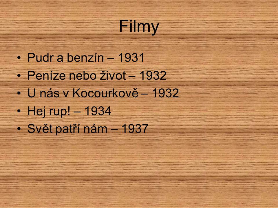 Filmy Pudr a benzín – 1931 Peníze nebo život – 1932