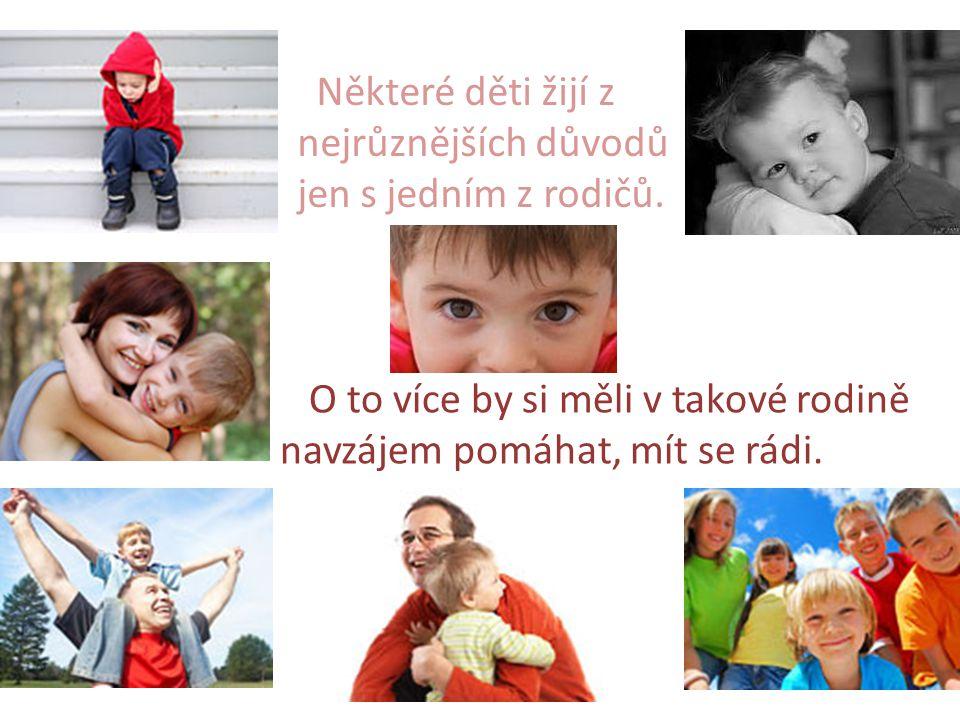 Některé děti žijí z nejrůznějších důvodů. jen s jedním z rodičů. O to více by si měli v takové rodině.