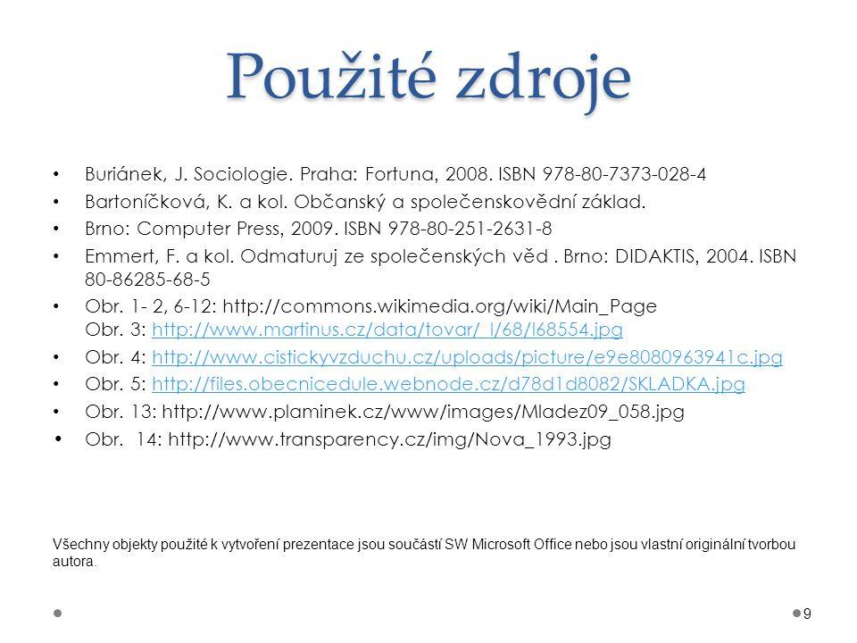 Použité zdroje Buriánek, J. Sociologie. Praha: Fortuna, 2008. ISBN 978-80-7373-028-4. Bartoníčková, K. a kol. Občanský a společenskovědní základ.