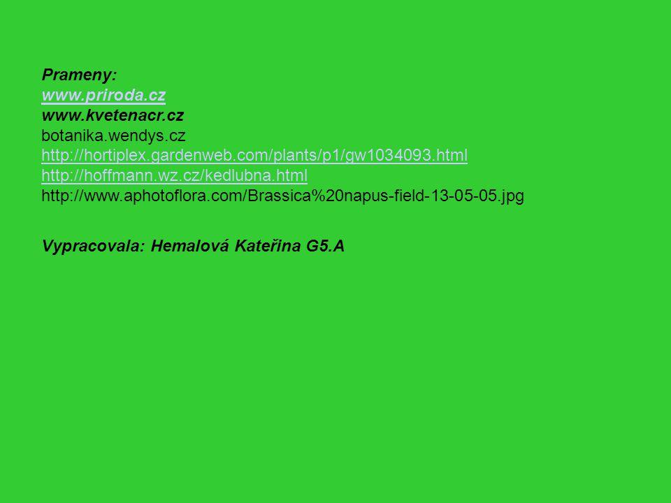 Prameny: www.priroda.cz. www.kvetenacr.cz. botanika.wendys.cz. http://hortiplex.gardenweb.com/plants/p1/gw1034093.html.
