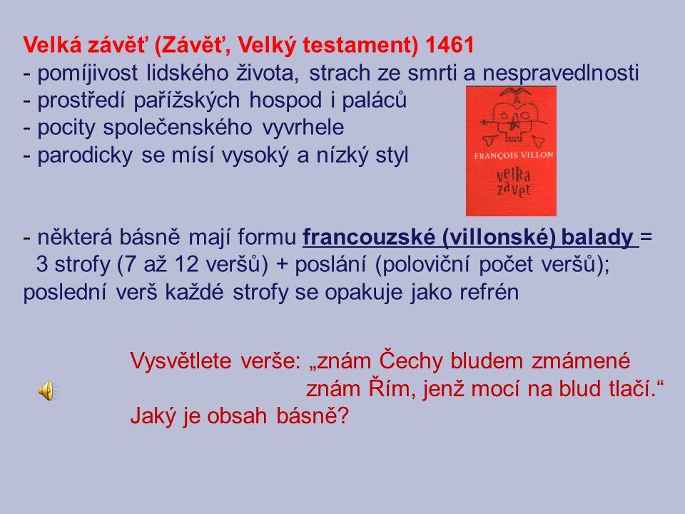 Velká závěť (Závěť, Velký testament) 1461