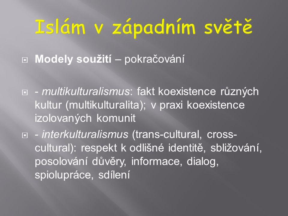 Islám v západním světě Modely soužití – pokračování