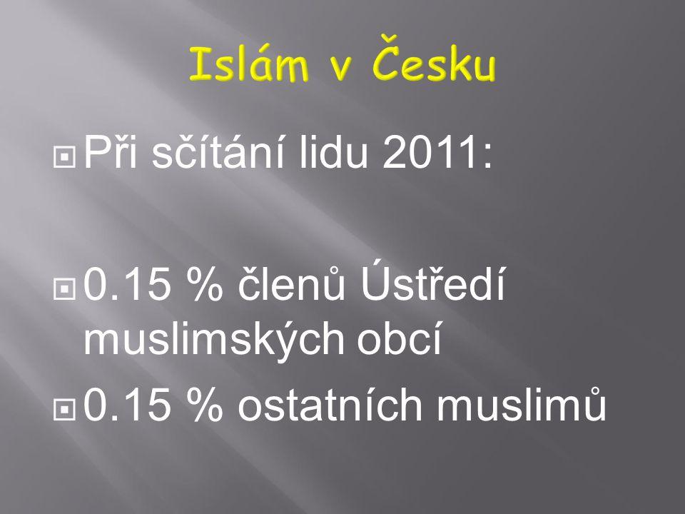 Islám v Česku Při sčítání lidu 2011: 0.15 % členů Ústředí muslimských obcí 0.15 % ostatních muslimů